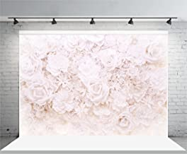 Laeacco Vinyl 7x5ft Photography Background White Paper Flowers Roses Blossoming Scene Mother's Girls Lovers Photo Portraits Wallpaper Children Backdrops Shooting Video Studio Props 2.2x1.5m