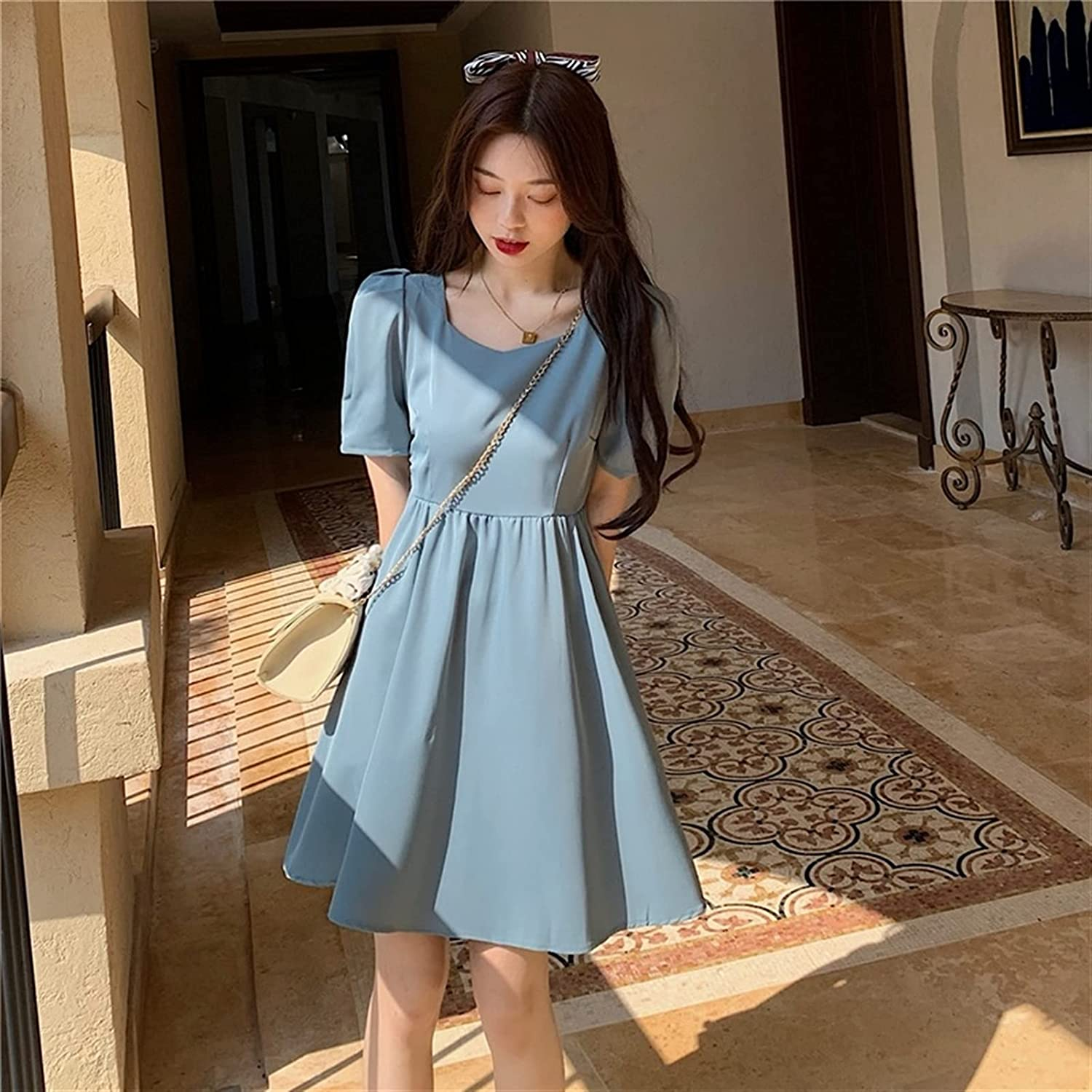 BangHaa Hollow Chain Dress On The Back, Round Neck Waist, Slim A-line Dress, Cute Small Skirt with Bow On The Back for Beach Vacation (Color : Blue, Size : Large)