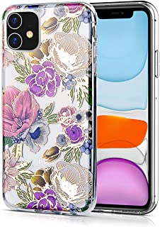 WALAGO iPhone 11 Case, Clear Design Elegant Texture Colorful Flower for Girls Slim Flexible Soft TPU Edge Bumper Anti-Scratch Rigid Hard PC Back Protective Cases for iPhone 11
