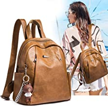 Women Backpack Leather Backpack Purse Casual Travel Shoulder Bag Anti-Theft Backpack Purse,Brown