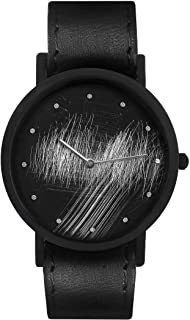South Lane Swiss Quartz Stainless Steel and Leather Casual Watch, Color:Black (Model: core-SL-56)