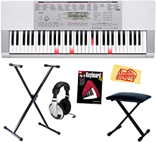 Casio LK-280 61-Key Portable Keyboard with Instructional Light-Up Keys Bundle with Keyboard Stand, Bench, Headphones, Instructional Book and Polishing Cloth