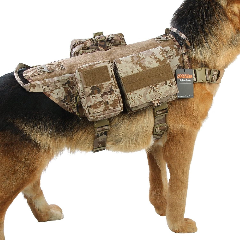 EXCELLENT ELITE SPANKER Tactical Dog Molle Vest Harness Training Dog Vest Handle with 23 Detachable Pouches(AOR1XL)
