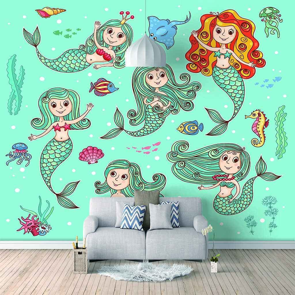 FVGKYS Wall Art Wallpaper Cartoon De Mermaid Mural 3D Year-end gift Background Popular standard