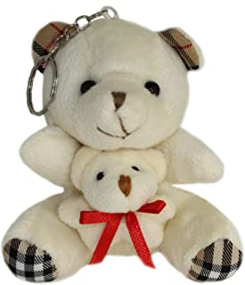 Lucore Mommy Bear With Baby Cub Plush Stuffed Animal Keychain - Hanging Toy Doll, Lucky Charm & Ornament (White)