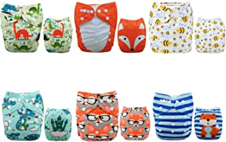 ALVABABY 6 Pack with 12 Inserts Baby Diaper, Pocket Cloth Diapers Reusable Washable Adjustable for Baby Boys and Girls 6DM48