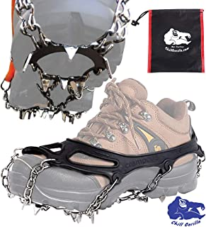 Chill Gorilla Ice Cleats Crampons Traction Snow Grips for Boots Shoes Anti Slip 19 Stainless Steel Spikes for Hiking Fishing Walking Climbing Jogging Mountaineering