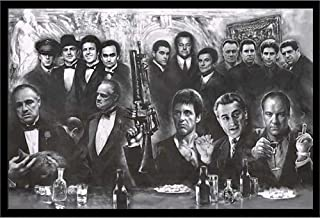 Mafia Gangster Wall Art Decor Framed Print | Scarface, Sopranos, Goodfellas & Godfather Movies Posters | 24x36 Premium (Canvas/Painting Like) Textured Poster | Mob Movie Gifts for Guys & Girls Bedroom