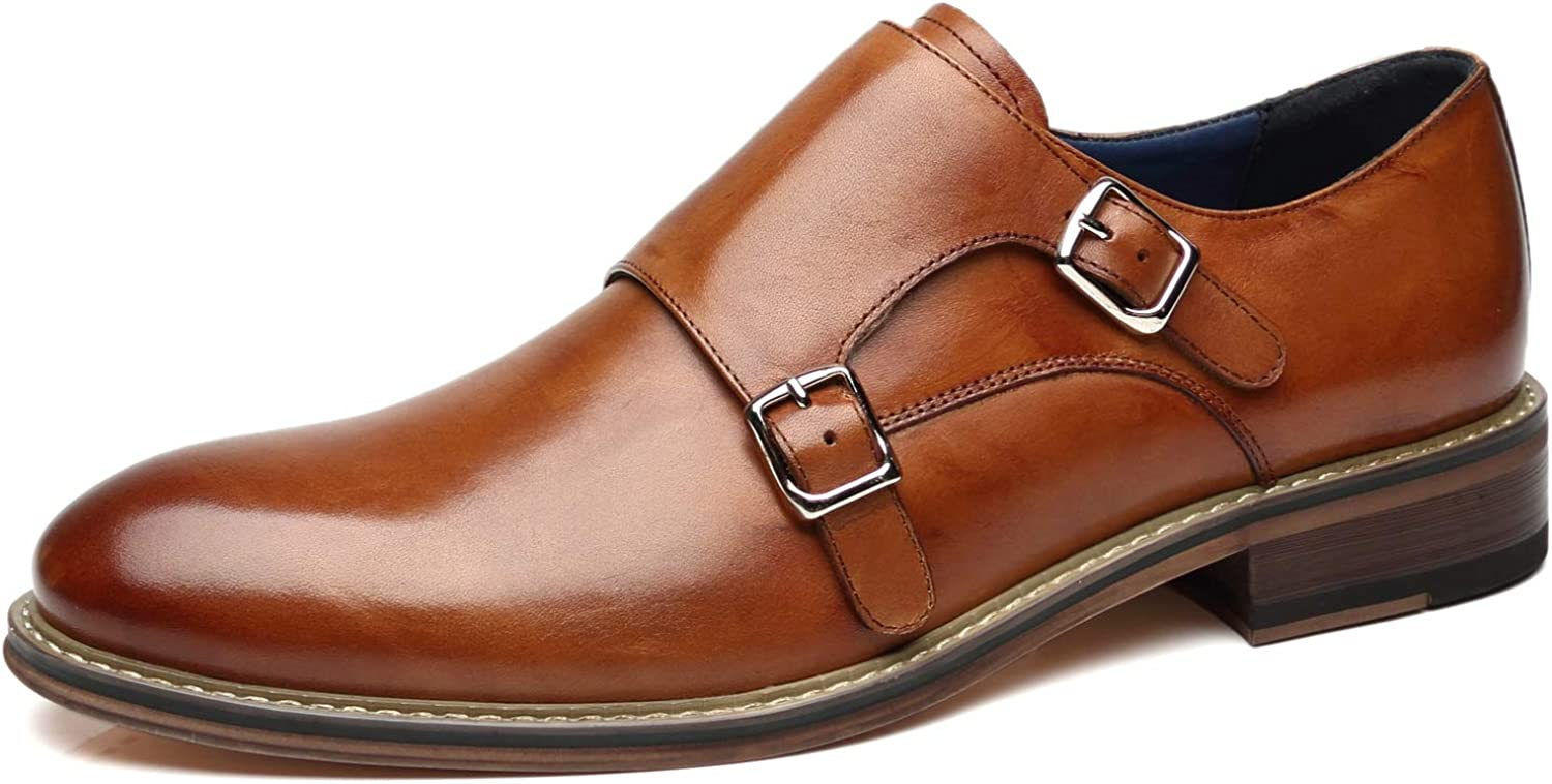 La Milano Mens Double Monk Strap Slip on Loafer Cap Toe Leather Oxford Formal Business Casual Comfortable Dress Shoes for Men
