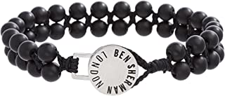 Men's Double Stranded Black Stone Beaded Bracelet with Stainless Steel Disc Closure