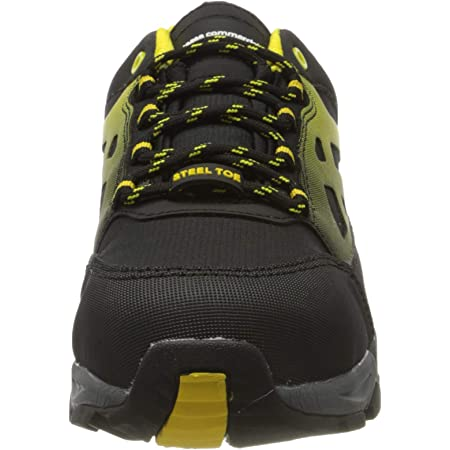 AmazonCommercial Steel Toe Safety Shoes for Man and Woman, Beck Trainer, Protective Industrial Sneaker, Work Trainer for Construction, Black/Yellow, 7 UK (41 EU)