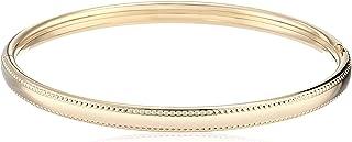 14k Gold-Filled Polished Beaded Edge Hinged Yellow Bangle Bracelet