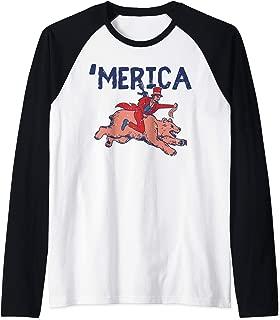 Merica Funny US 4th Of July Lincoln Riding Bear Patriot Gift Raglan Baseball Tee