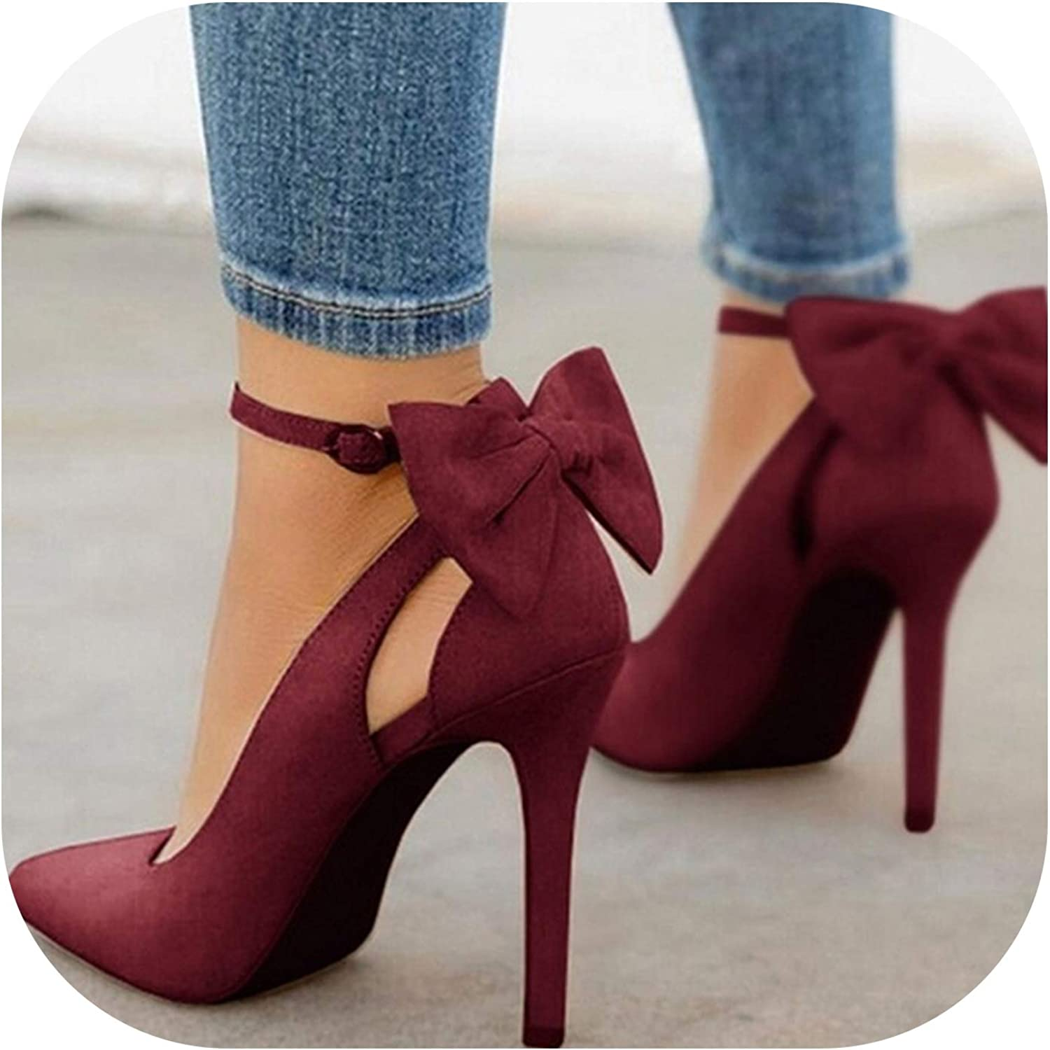 Women High Heels Pumps Women shoes Pointed Toe Buckle Strap Butterfly Party shoes