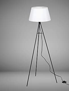 Trango 1522WL White Lampadaire design trépied avec ampoule LED E27 Blanc chaud avec abat-jour en tissu blanc I Trépied Hau...