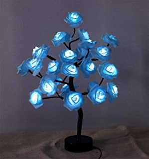 AMARS 18 Inch Bonsai Tree LED Rose Blue Flower Lights Lamp Battery and and USB Plug Table Desk Decorative 24leds Artificia...
