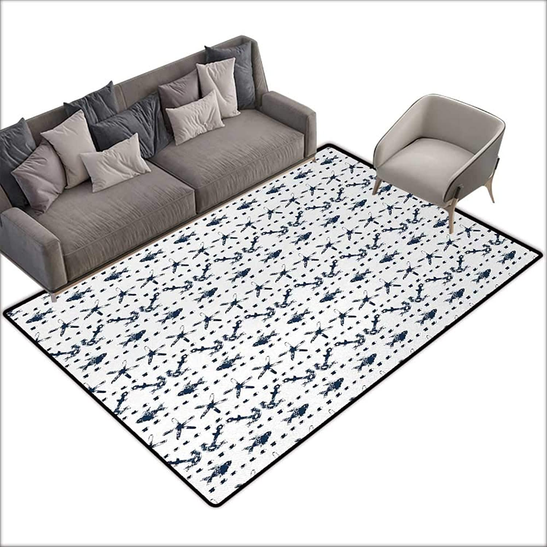 Interior Door mat Bathroom mat Slip Navy bluee Navy Yatch Themed Design with Fish Starfish and Anchor Nautical Marine Print W59 xL94