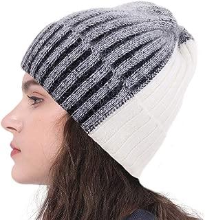 CRUOXIBB Women Knit Wool Beanie,Winter 2 Tone Cashmere Ski Hats Warm Soft Skull Cap for Women