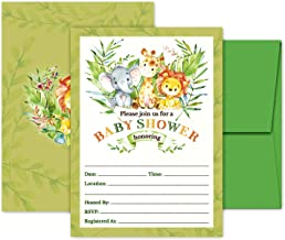 Deluxe Safari Jungle Baby Shower Invitations Gender Neutral for Boys, Girls, or Twins, Kids Party Card Supplies, 20 Double Sided Large 5 x 7 Flat Fill In Invites with Green Envelopes