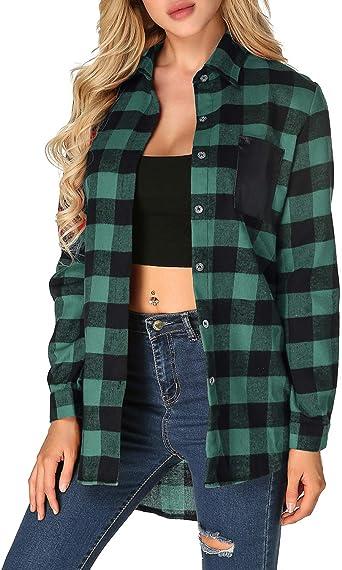 ZANZEA - Blusas sexy de cuadros para mujer, blusas de manga larga, cuello en V, camisetas de tartán