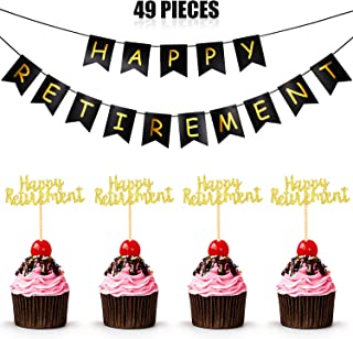Happy Retirement Party Decoration Set Includes Happy Retirement Banner Bunting and 48 Pieces Retirement Cupcake Toppers