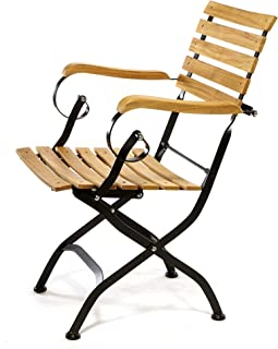 Sunset Garden Real Teak Wood & Steel | Miya Outdoor Folding Set of 2 Armchairs for Patio Deck Backyard Furniture, Natural/Black