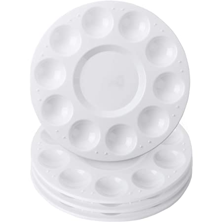 Plastic Round Pallets for Kids,Student to Painting or Have a Birthday Painting Party Hulameda 8pcs-White Paint Tray Palettes