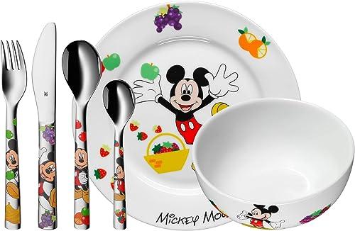 WMF Disney Mickey Mouse - Vajilla para niños 6 piezas, incluye plato, cuenco y cubertería (tenedor, cuchillo de mesa,...