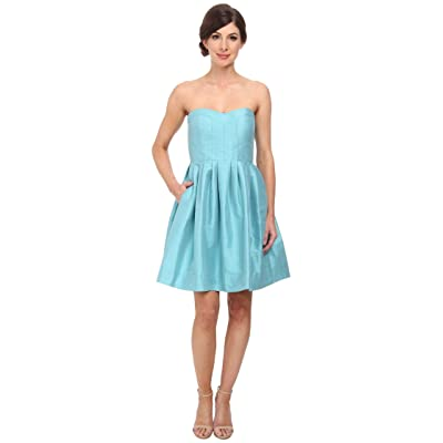Donna Morgan Madison Seamed Bodice Strapless Shantung (Turquoise) Women