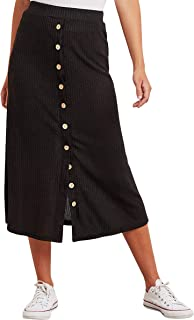 Ribbed A-line Midi Skirt with Button Detail For Women Closet by Styli