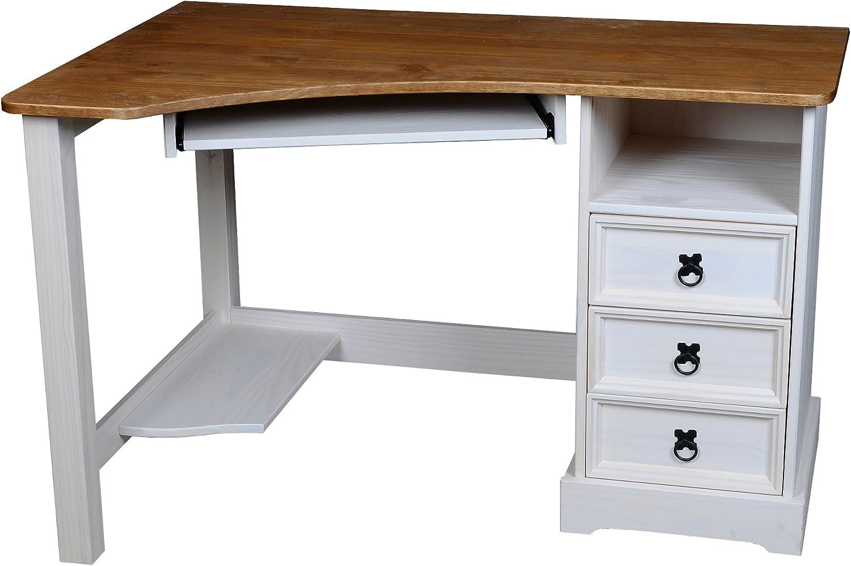 Eckschreibtisch Schreibtisch Mexico Computertisch Pinie Massivholz Tisch wei