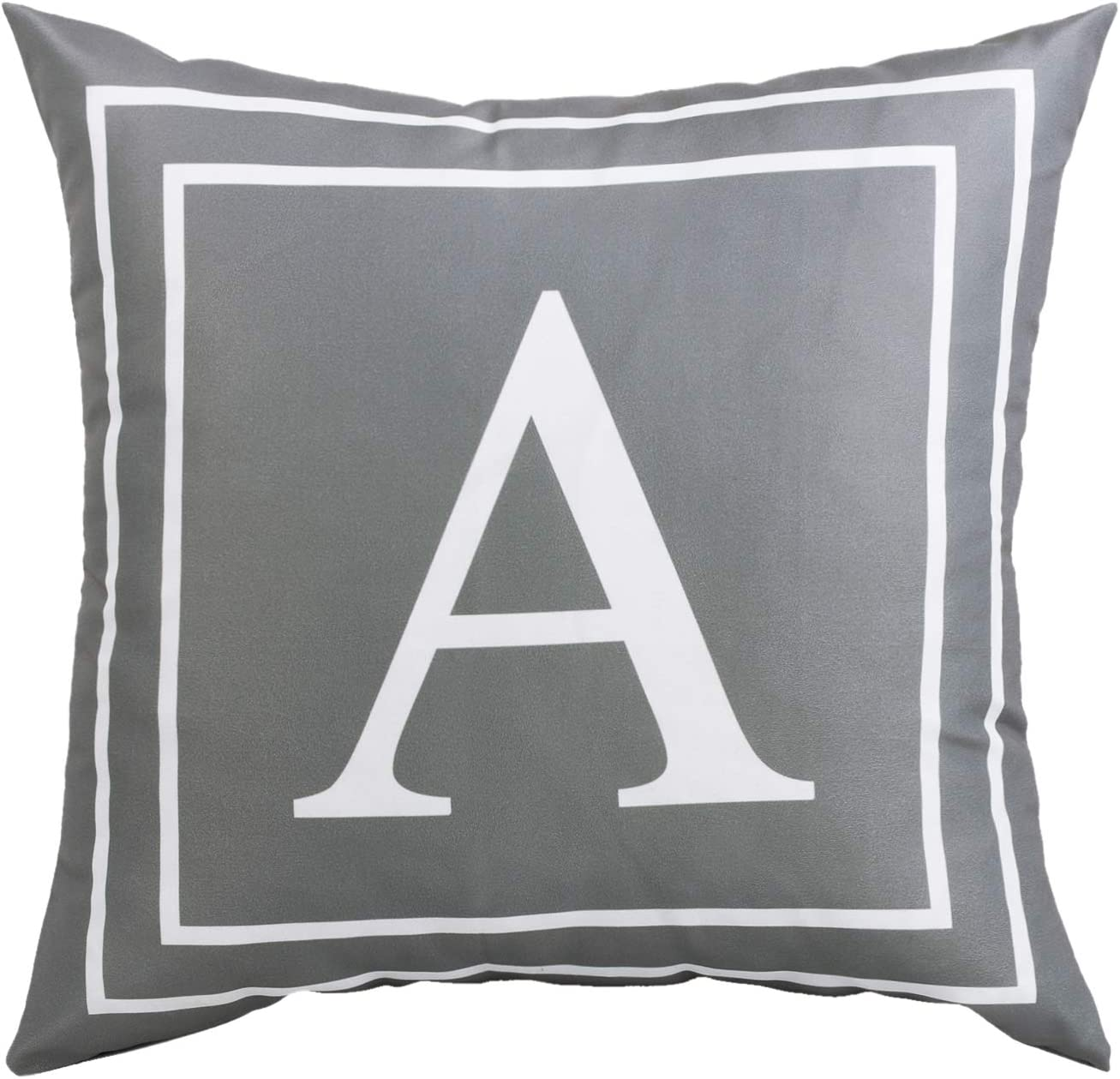 Fascidorm Gray Pillow Cover English Alphabet A Throw Pillow Case Modern Cushion Cover Square Pillowcase Decoration for Sofa Bed Chair Car 16 x 16 Inch