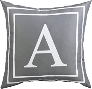 BLEUM CADE Gray Pillow Cover English Alphabet A Throw Pillow Case Modern Cushion Cover Square Pillowcase Decoration for Sofa Bed Chair Car 18 x 18 Inch