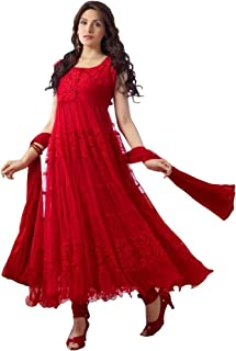 Royal Export Women's Brasso Semi-Stitched Salwar Suit Set (Red)