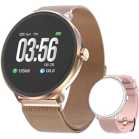 Bebinca Smartwatch Fitness Activity tracker Notifiche Facebook/Whatsapp Contapassi Pressione Sanguigna Cardiofrequenzimetro da polso per Android iOS Huawei + 1 Cinturino in metallo(Rosa)