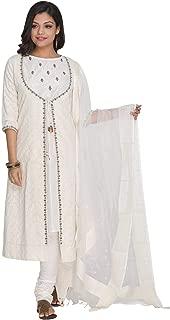 Off White Cotton Silk Jacket Set