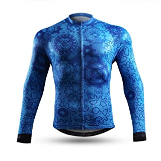 NEENCA Men`s Cycling Bike Jersey Long Sleeve with 3 Rear Pockets,Cycling Biking Shirt,Moisture Wicking,Breathable,Quick Dry