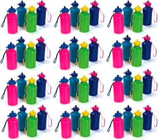 Neon Water Sports Bottles for Bikes | Bulk Pack, 7.5 inches, Wrist Strap | Awesome Summer Beach Accessory | Holds 18 Ounces of Drinks to Keep Kids Hydrated