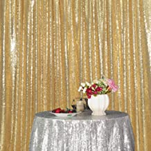 Eternal Beauty Amber Gold Sequin Wedding Backdrop Photography Background Party Curtain, 10Ft X 10Ft