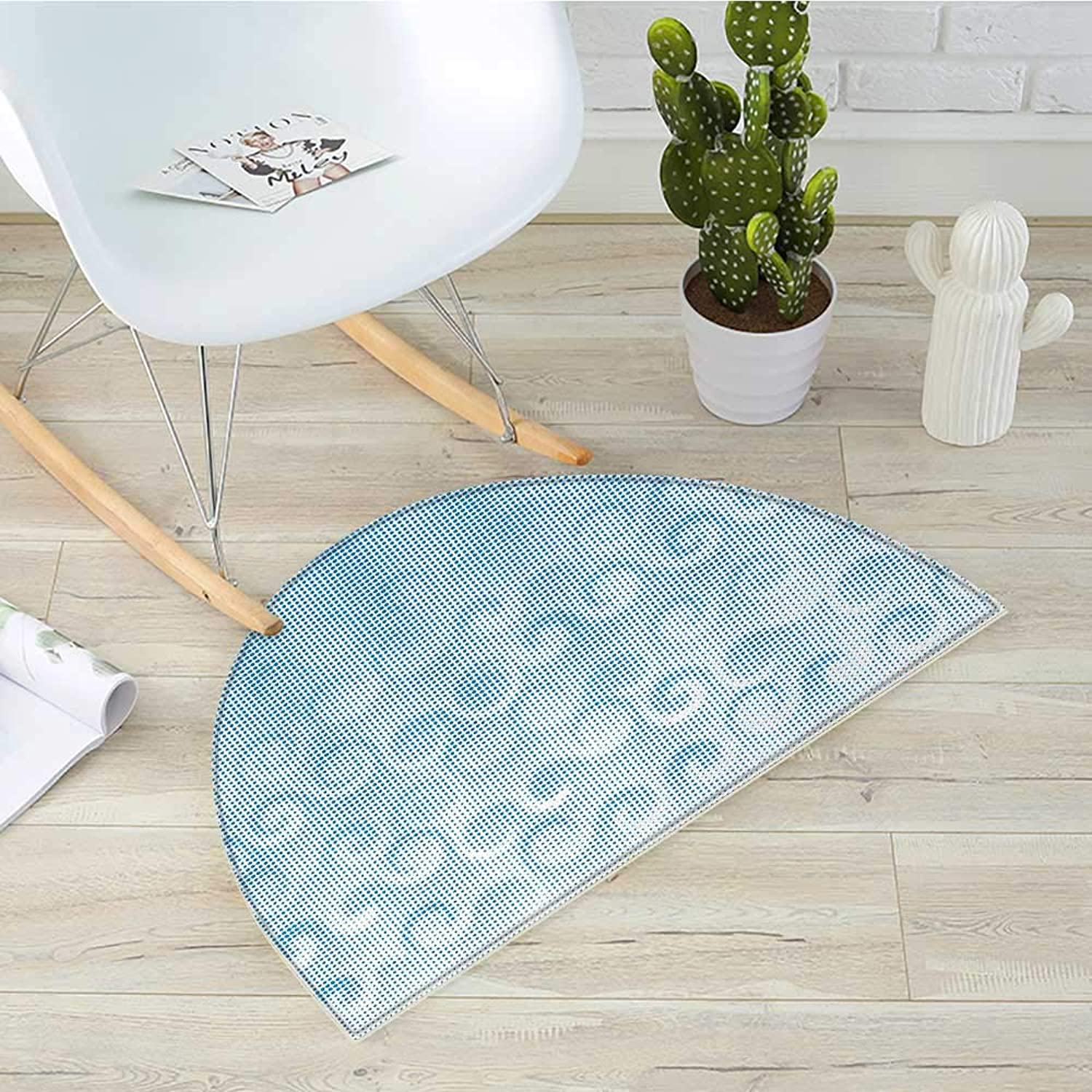 Abstract Half Round Door mats Halftones Background with Circles and Little Digital Dots Like Ocean Wave Artwork Bathroom Mat H 39.3  xD 59  Pale bluee