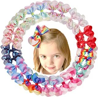 DeD 26 Pieces Hair Bows for Baby Girl 4 Inch Colorful Grograin Ribbon Bows with Clips Rainbows Hair Bows Clips for Kids Toddlers Girls In Pairs