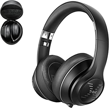 Tribit XFree Tune Bluetooth Headphones Over Ear - Wireless Headphones Noise Cancelling, Hi-Fi Stereo Sound with Rich Bass, Built-in Mic, Soft Earmuffs - Foldable Headset, 40 Hrs Playtime, Black