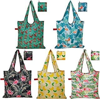Grocery Bags Reusable Foldable Shopping Bags Cute Tote 5 Pack Large with zip pouch Waterproof