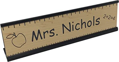 Teacher Office Desk Name Plate or Door Sign with or w/o holder - Free Engraving - Great Gift for School Teacher! (With Black Desk Holder)