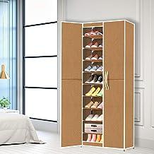 Levede Shoe Storage Cabinet Organiser Portable Wardrobe Rack Coffee 10 Tiers