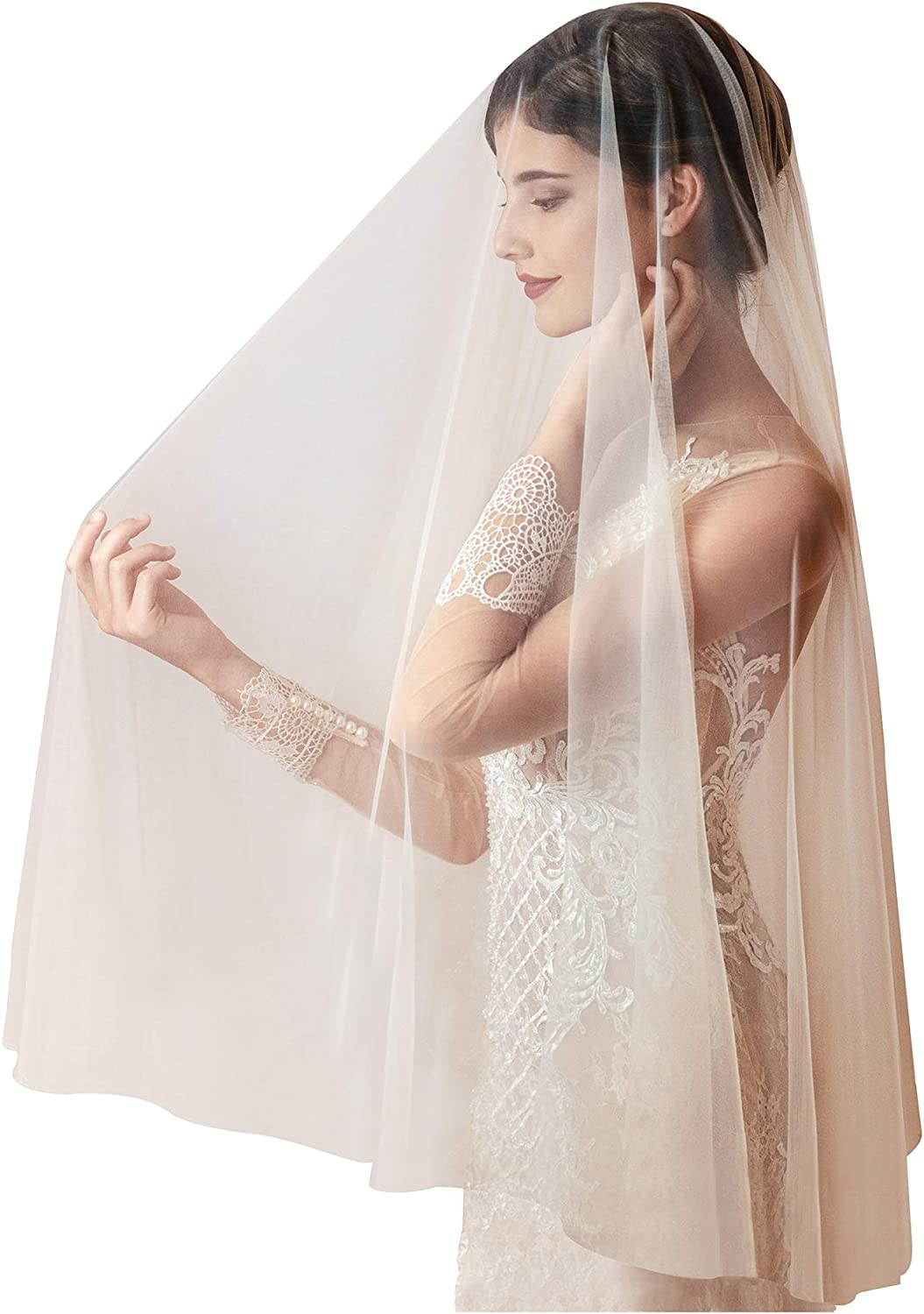 White Jasmine Short Champagne Wedding Veil for Brides with Blusher, Elbow Fingertip Lengths, Simple Raw Cut Edge