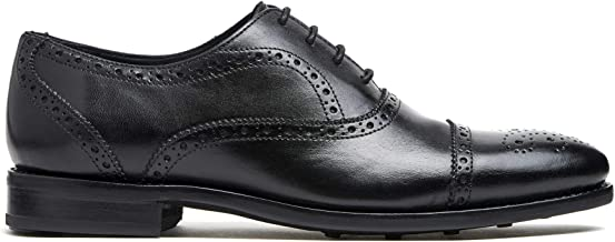 Timberlux New York Black Cap-Toe Brogue Shoes, Men Dress Shoes Goodyear Welted