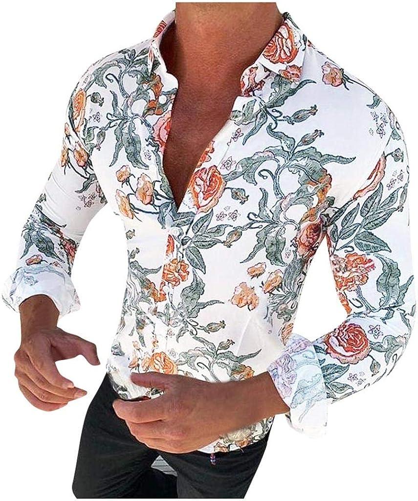 YAYUMI Men's Floral Print Shirt Slim Button Top Fashion Personality Casual Long Sleeve Autumn Jacket White