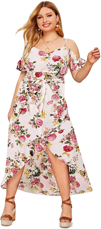 Milumia Women Plus Size Summer Beach Boho Floral Wedding Guest Maxi Dress