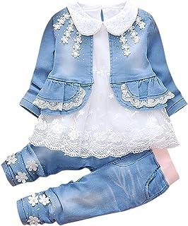 De feuilles Baby Mädchen Bekleidungsset 3 Stück Spitzen Blusen Denim Jacke Lang Hosen Gestickt Blumen Kleidung Set